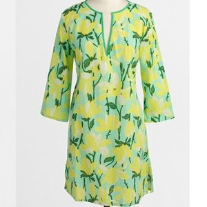 J. Crew Yellow Floral Print Cover up Tunic Dress L